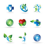 Health Logos. Several logo elements, which can be used for your company logo Stock Photos