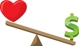 Health/love versus wealth Royalty Free Stock Image