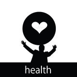 Health with man and heart  silhouette Royalty Free Stock Photo