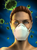 Health mask. Young woman wearing an health mask to protect from airborne viruses. Female figure created from scratch, no model release necessary. Digital Royalty Free Stock Images