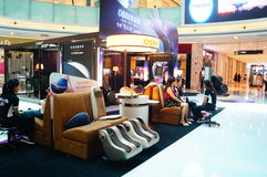 Health massage chairs sales in shopping malls Stock Photo