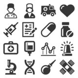 Health Medic Icons Set on White Background. Vector royalty free stock photography