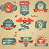 Health and Medical Badge. Vector illustration of vintage tag for healthcare and medicine Royalty Free Illustration
