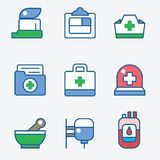 Health and medical care icons Stock Image