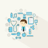 Health and Medical concept with doctor and various objects. Stock Photo
