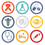 Health and medical flat icons Stock Photography