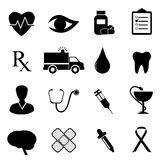 Health and medical icon set. In black Royalty Free Stock Image