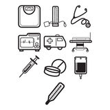 Health and medical icon set Royalty Free Stock Images
