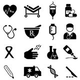 Health and medical icons. Health care and medical icon set stock illustration