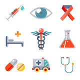 Health and medical icons set. Health and medical care and isolated flat icons set modern trendy vector illustration Royalty Free Stock Images