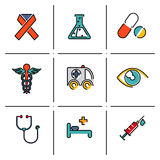 Health and medical icons set. Health and medical care and isolated line icons set modern trendy vector illustration Royalty Free Stock Photography