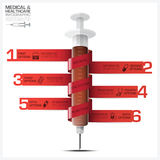 Health And Medical Infographic With Bind Spiral Tag Syringe Diag Royalty Free Stock Photo