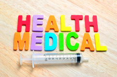 Health and Medical with syringe Stock Photo