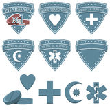 Health medicine pharmacy icons set. Badge flat symbols of medicine Stock Photo