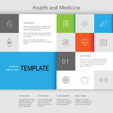 Health and medicine web page design. Vector health and medicine web page design, brochure template, landing page, design elements for web, EPS 8 Royalty Free Stock Photography