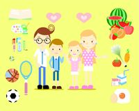 Health and mental health for kids with family vector illustration
