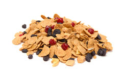 Health mix. Mix of cereal and dried fruits isolated on white Stock Photos