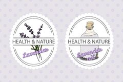 Health and Nature Collection. Lavender. Health and Nature Collection. Badge templates with a herb and bottle with oil on spotted seamless background. Lavender vector illustration