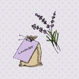 Health and Nature Collection. Lavender. Health and Nature Collection. Herbs and a bag on spotted seamless background. Lavender - Lavandula angustifolia vector illustration