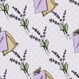 Health and Nature Collection. Lavender. Health and Nature Collection. Seamless pattern with herbs and bags on spotted background. Lavender - Lavandula royalty free illustration