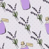 Health and Nature Collection. Lavender. Health and Nature Collection. Seamless pattern with herbs and bottles with oil on spotted background. Lavender vector illustration
