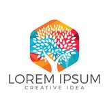 Green tree logo design. Stock Image