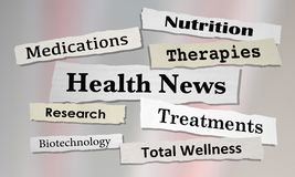 Health News Headlines Newspaper Reports. 3d Illustration Stock Photos