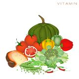 Health and Nutrition Benefits of Vitamin Foods Stock Photography