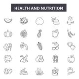 Health and nutrition line icons, signs, vector set, outline illustration concept. Health and nutrition line icons, signs, vector set, outline concept royalty free illustration