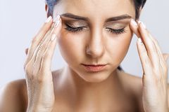 Health And Pain. Stressed Exhausted Young Woman Having Strong Te. Nsion Headache. Closeup Portrait Of Beautiful Sick Girl Suffering From Head Migraine, Feeling Stock Image