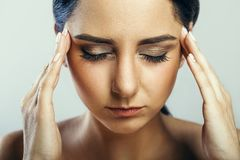 Health And Pain. Stressed Exhausted Young Woman Having Strong Te. Nsion Headache. Closeup Portrait Of Beautiful Sick Girl Suffering From Head Migraine, Feeling Stock Images