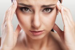 Health And Pain. Stressed Exhausted Young Woman Having Strong Tension Headache. Closeup Portrait Of A Beautiful Sick Girl Sufferin Royalty Free Stock Photo