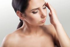 Health And Pain. Stressed Exhausted Young Woman Having Strong Tension Headache. Closeup Portrait Of A Beautiful Sick Girl Sufferin Stock Photo