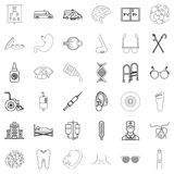 Health problem icons set, outline style. Health problem icons set. Outline set of 36 health problem vector icons for web isolated on white background Stock Image