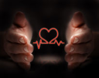 Health protection. Hand protect heart beat movement Royalty Free Stock Image