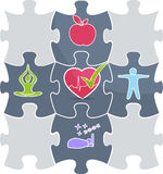 Health puzzle. Health care puzzle. Healthy lifestyle conceptual illustration.  Good sleep, fitness, healthy food, stress management leads to healthy heart and Royalty Free Stock Photos