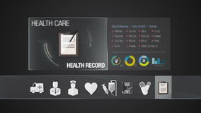 Health record icon for Health Care contents. Technology medical care service.Digital display application.