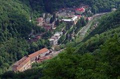 Health resort - Baile Herculane - landmark attraction in Romania. Top view stock photo