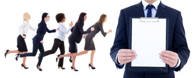 Health resource concept - side view of running business women an Stock Photo