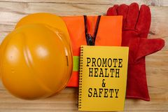 HEALTH,SAFETY & ENVIRONMENT CONCEPTUAL with general texts and st stock photo