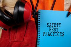 HEALTH,SAFETY & ENVIRONMENT CONCEPTUAL with general texts and st stock image
