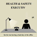 Health and safety executive. Part of health and safety sign falling on health and safety executive Stock Illustration
