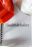 Health and safety with helmets Stock Photo