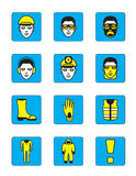 Health and safety icons set Stock Photos