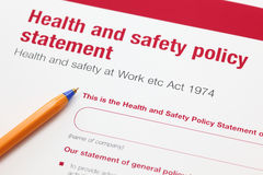 Health and safety policy statement. And ballpoint pen Stock Images