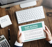 Health and Safety Policy Statement Form Concept. Health and Safety Policy Statement Form Digital Tablet Concept stock image
