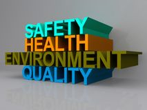 Health and safety sign. Abstract health and safety sign with the words environment and quality in bold lettering Stock Photos