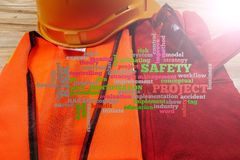 Health & Safety Word Clouds with standard construction safety equipment. stock photo