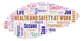 Health And Safety At Work word cloud. Word cloud made with text only vector illustration