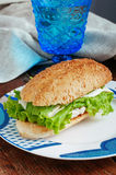 Health sandwich with pesto. Sandwich with pesto, chicken and mozzarella cheese Royalty Free Stock Photos